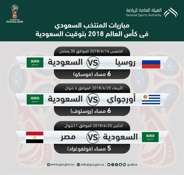 موعد مباريات منتخب السعودية فى كأس العالم 2018