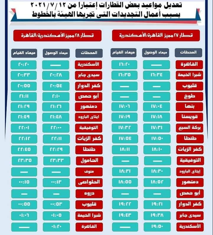 جدول قطار سكة حديد مصر 2021